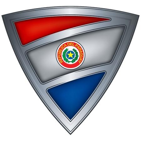 Paraguay flag: Escudo de acero con bandera de paraguay