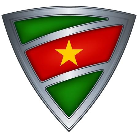 suriname: steel shield with flag suriname