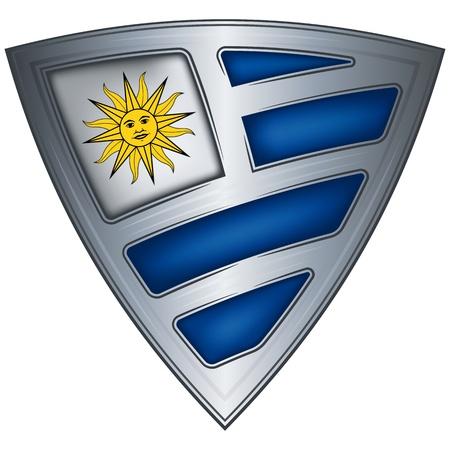 bandera de uruguay: acero escudo con la bandera de Uruguay