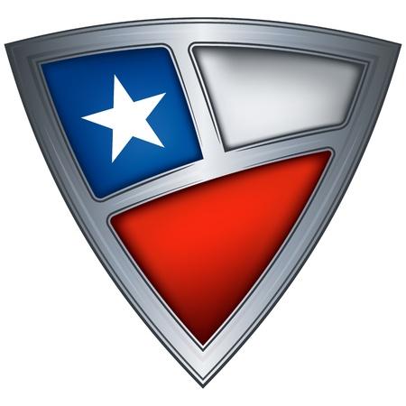 bandera de chile: acero escudo con la bandera de Chile Vectores