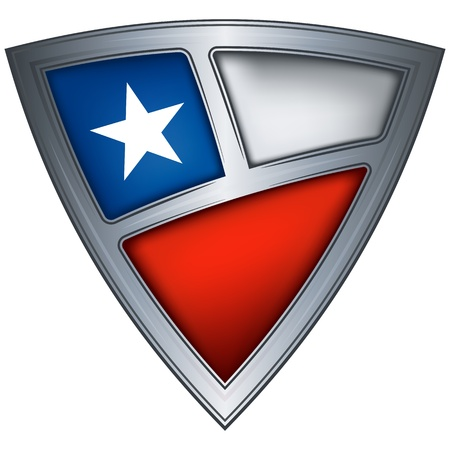 chile flag: steel shield with flag chile  Illustration