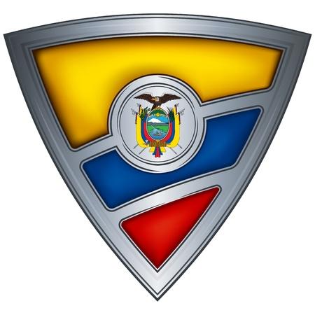 ecuador: steel shield with flag ecuador