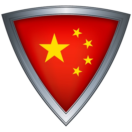 steel shield with flag china Stock Vector - 11172524