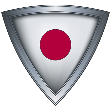 japan flag: steel shield with flag japan