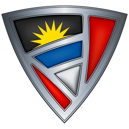 antigua: steel shield with flag antigua and barbuda  Illustration