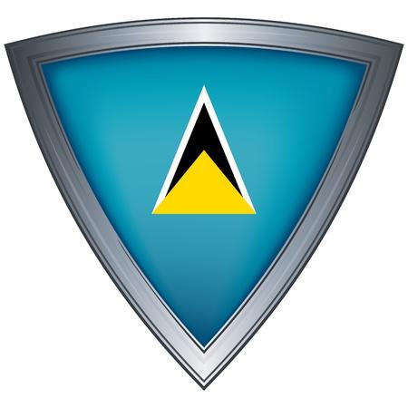 shiny shield: steel shield with flag saint lucia
