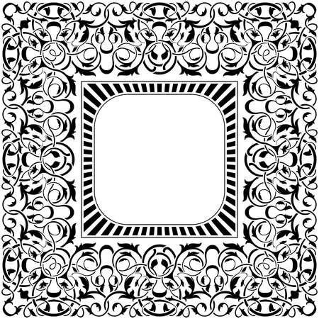 black frame with ornamental border  Vector