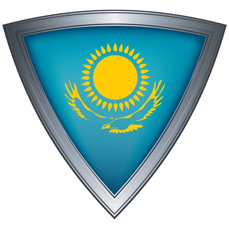 steel shield with flag kazakhstan Vector