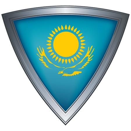 steel shield with flag kazakhstan Stock Vector - 11172545