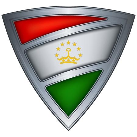 steel shield with flag tajikistan Stock Vector - 11172549