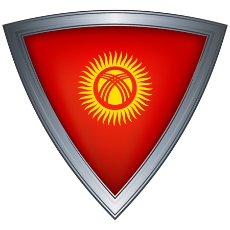 steel shield with flag kyrgyzstan Stock Vector - 11172547