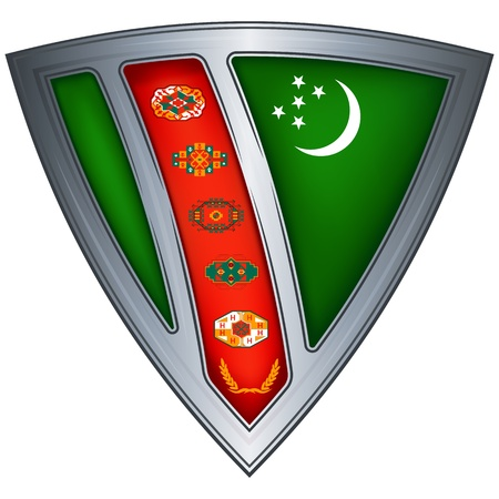 steel shield with flag turkmenistan  Stock Vector - 11172550