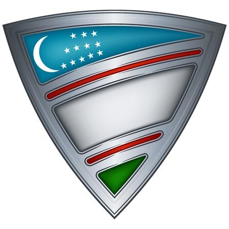 uzbekistan: steel shield with flag uzbekistan
