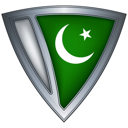 pakistan flag: steel shield with flag pakistan