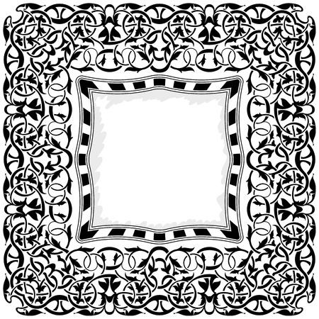 black frame with ornamental border Stock Vector - 11235141