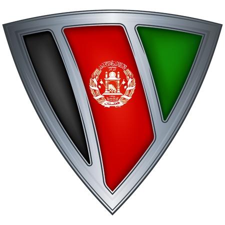 afghanistan: steel shield with flag afghanistan Illustration