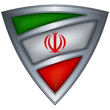 steel shield with flag iran  Vector