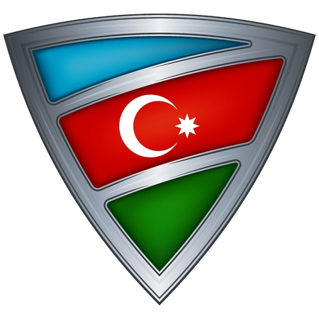 steel shield with flag azerbaijan Vector