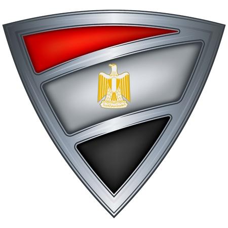 bandera de egipto: acero escudo con la bandera de Egipto Vectores