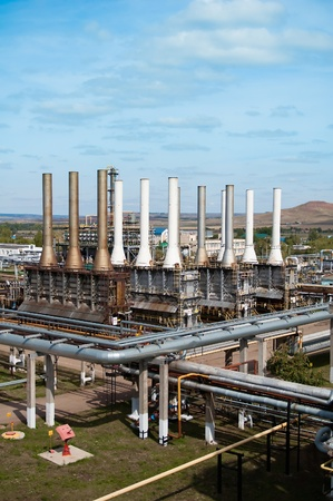 petrochemical: view gas processing factory. gas and oil industry Editorial
