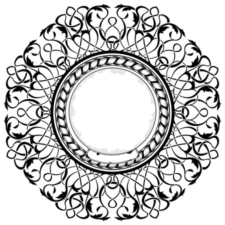 black frame with ornamental border  Stock Vector - 11235149