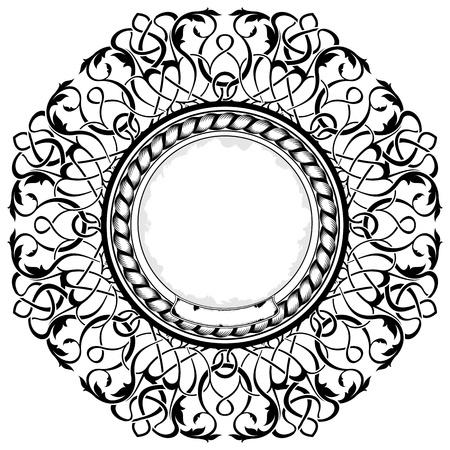 black frame with ornamental border Stock Vector - 11235149
