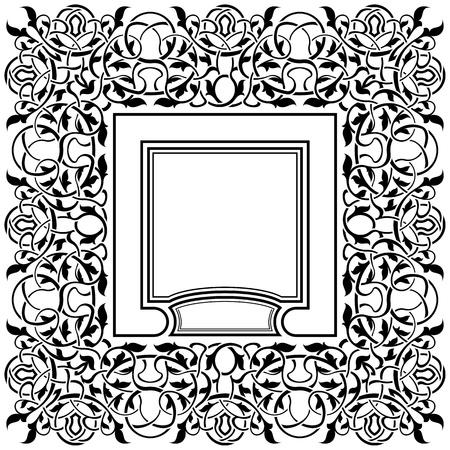black frame with ornamental border Stock Vector - 11235162