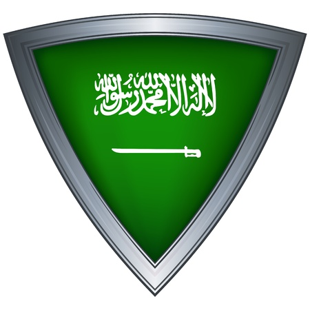 steel shield with flag saudi arabia  Vector