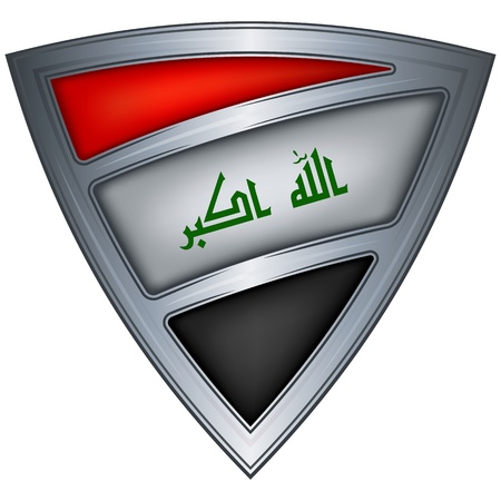 steel shield with flag iraq  Vector