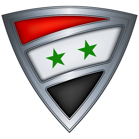 syria: Steel shield with flag Syria