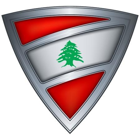 blindaje de acero con la bandera del Líbano Ilustración de vector