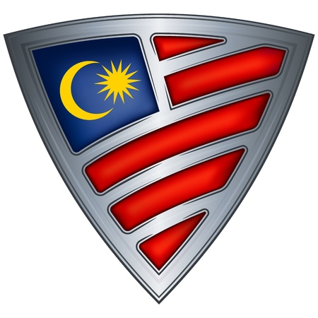 triangle flag: steel shield with flag malaysia  Illustration