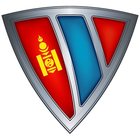 mongolia: Steel shield with flag Mongolia