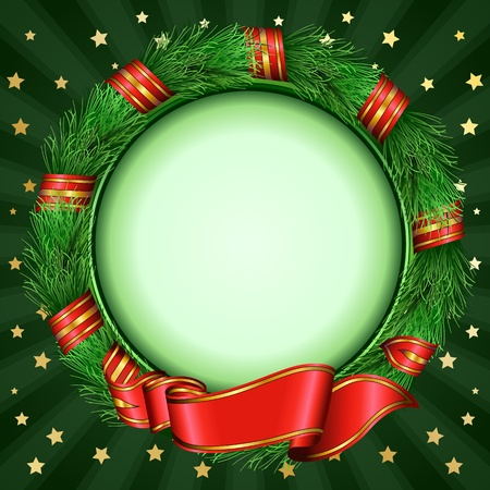 christmas circle frame of fir branches Vector