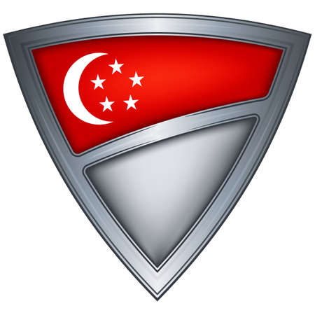 steel shield with flag singapore  Stock Photo - 11375788