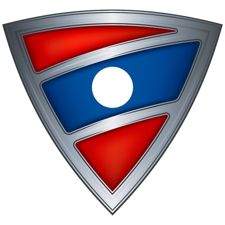 laos: steel shield with flag laos