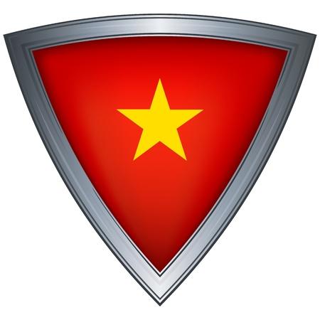 vietnam flag: steel shield with flag vietnam Illustration