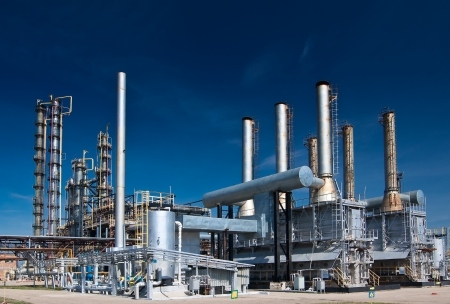 refinery: view gas processing factory. gas and oil industry Editorial