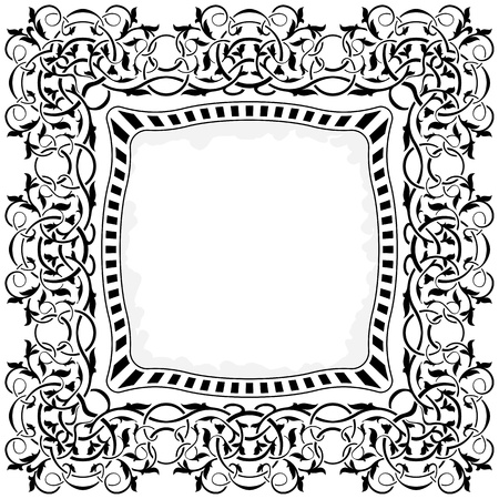 black frame with ornamental border