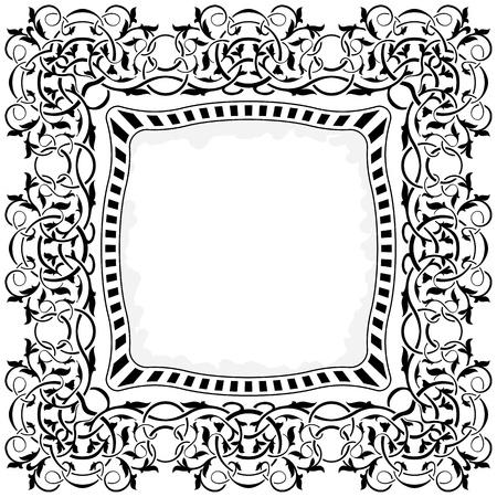 celtic art: black frame with ornamental border