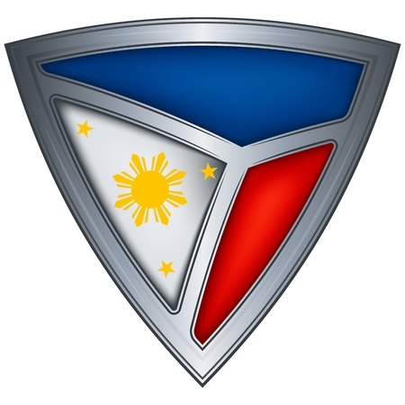 philippines  map: steel shield with flag philippines Illustration