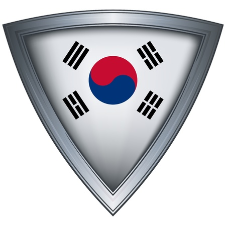 steel shield with flag korea  Vector