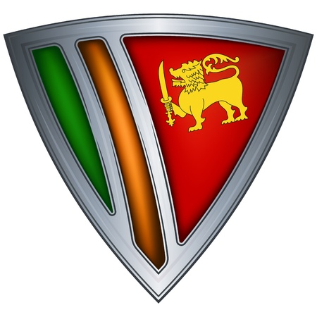 steel shield with flag sri lanka  Vector