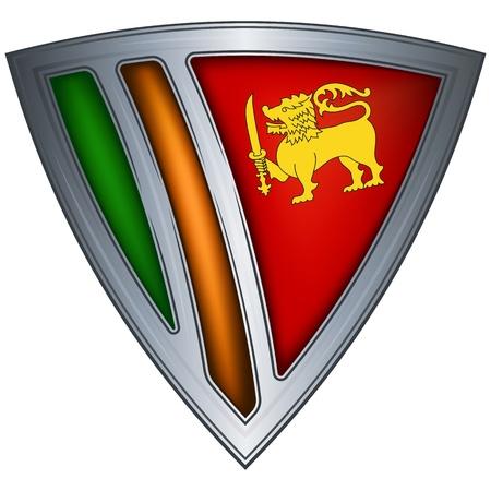 sri: steel shield with flag sri lanka  Illustration