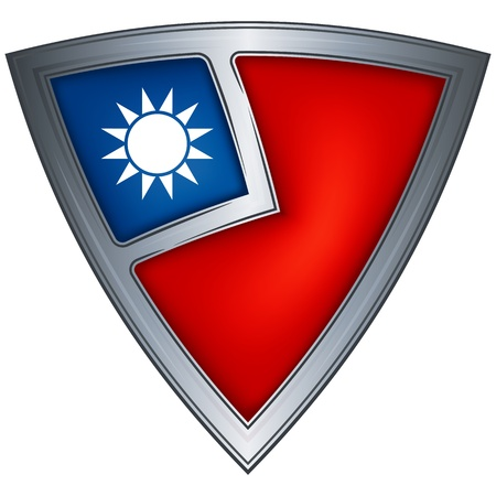 steel shield with flag taiwan Vector