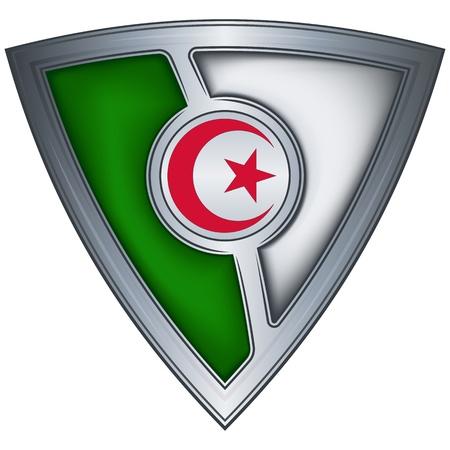 algeria: steel shield with flag algeria  Illustration