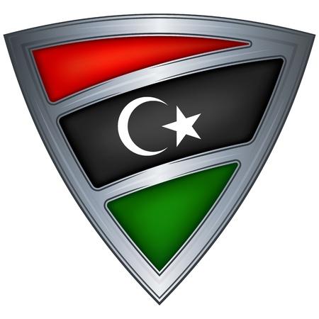 steel shield with flag libya Stock Vector - 11375776