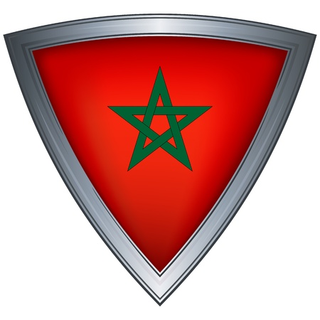 steel shield with flag morocco Vector