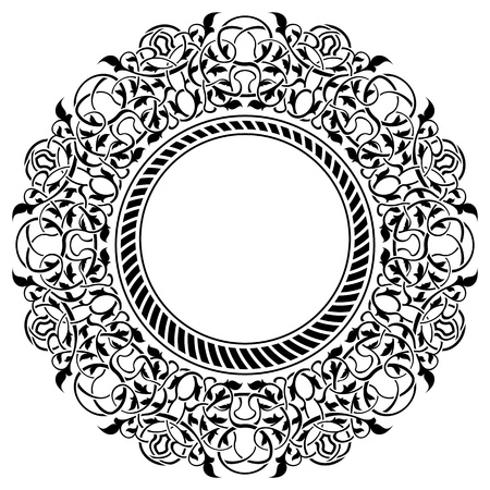 floral scroll: Black frame with ornamental border