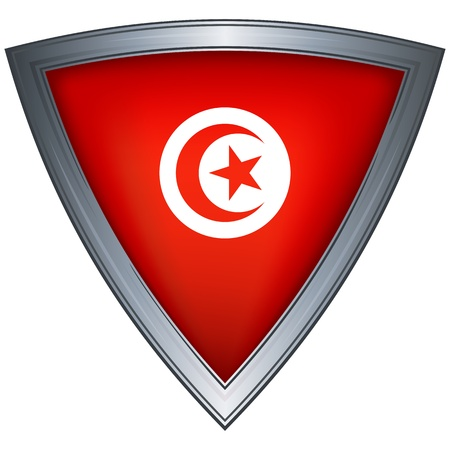 Steel shield with flag Tunisia Stock Vector - 11375740